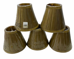 Set of 5 Pottery Barn Clip On Pleated Chandelier Shades Dupioni ? Gold Rare New $76.00