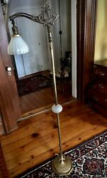 Antique Vintage Art Deco Bridge Floor Lamp Original Gorgeous Antique Shade $495.00