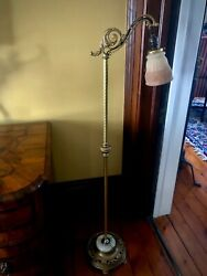 Antique Vintage Art Deco Bridge Floor Lamp Original Gorgeous Antique Shade $515.00