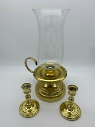 3 Brass Candlestick 1 Small Baldwin Brass Pair amp; Large Stick with Glass Chimney $23.70