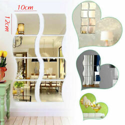 6pcs Self Adhesive Mirror Tiles Kitchen Wall Sticker Stick on Decal Home Decor $6.64