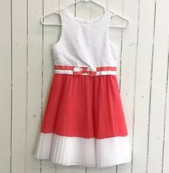 Emily West 8 Dress Girls White Lace Coral Pleated Polyester $12.34