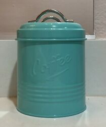 NEW Retro Kitchen Coffee Metal Canister Tin Container Aqua Turquoise Vintage ish $19.99