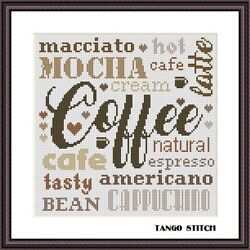 Coffee kitchen cross stitch pattern easy lettering typography embroidery design $5.85