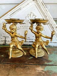 Antique Pair Cherub Putti Gold Gilt Cast metal Candle Holders $79.00