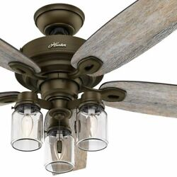 Hunter 52quot; Rustic Style Regal Bronze Mason Jar 3 Light LED Remote Ceiling Fan $169.00