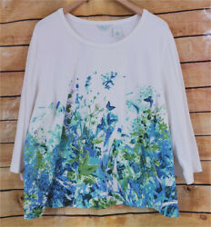 Women#x27;s Laura Ashley Plus 3X White with Floral Design 3 4 Sleeve Pretty Knit Top $13.99