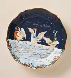 Anthropologie Inslee Fariss 12 Days of Christmas Plate 7 Seven Swans Skating NEW $64.99