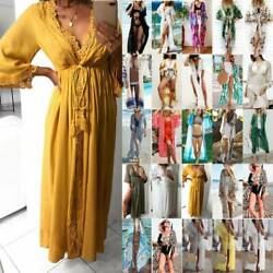 Ladies Long Bikini Cover Ups Swimwears Beach Wear Kaftan Kimono Maxi Dress Robe $10.92