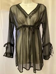 Sheer Black Embroidered Cover Up Tunic $16.00