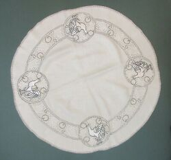 ARTS AND CRAFT LINEN WITH EMBROIDERED DESIGN OF BIRD $45.00