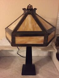 Antique Lamp with Caramel Slag Glass Shade Eagle Finial Vintage Base Table Lamp $195.00