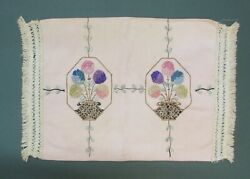 ARTS AND CRAFT LINEN PILLOW COVER WITH EMBROIDERED DESIGN $25.00