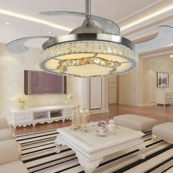 42quot; Retractable Ceiling Fan Light Crystal Chandelier Lamp Dimmable amp; Remote 36W $129.23