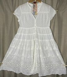 Johnny Was Sheer White Rayon Empire Dress Tonal Floral Embroidered Cover Up S $69.95