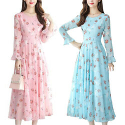 Women#x27;s Floral Long Sleeve Swing Maxi Dress Casual Party Long Holiday Dresses $13.86