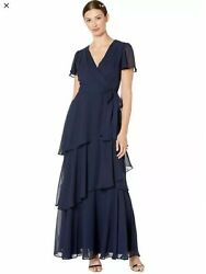 NWT Tahari ASL Dress Flutter Sleeve Tiered Maxi Women Navy Blue Sz 8 BRAND NEW $59.99