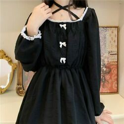 Japanese Lolita Gothic Dress Women Black Vintage Chiffon Dress Long Sleeve Dress