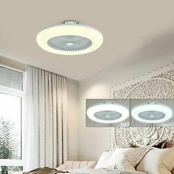 LED Modern Ceiling Fan Light Chandelier Dimmable 3 Color Enclosed Round Lamps US $114.06