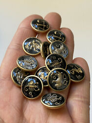 """Group Of 13 Vintage Glass Intaglio Zodiac Astrology Buttons 1 2"""" $45.00"""