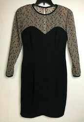 Vtg Adrianna Dress Black Sheath Sweetheart Neckline Lace Top Made in USA Sz 10