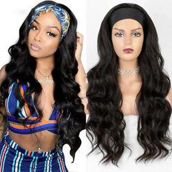 Long Wavy Headband Wig for Black Women None Replacement Wave Synthetic Headwraps