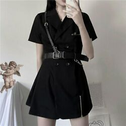 Black gothic Dress korean harajuku vintage mini suit summer dresses cosplay