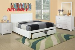 Bedroom Modern Queen Full Size Bed White faux Leather Storage Drawer Furniture $749.99
