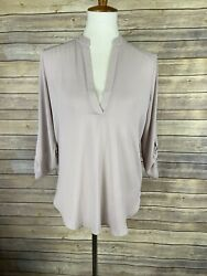 Lush Small V Neck Popover Blouse Lilac Purple Tabbed Sleeves Top $17.25