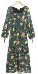 Anthropologie Womens Evelin Long Sleeve Floral Maxi Dress Olive Green Sz M NWT $84.96