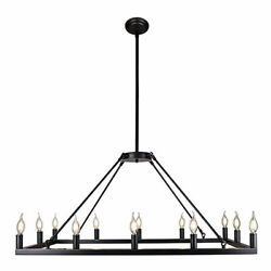 Rectangle Vintage Chandelier Pendant Antique Chandeliers Ceiling Light 12Lights $179.00