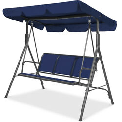 Swing With Stand Blue Adjustable Canopy 3 Seat Heavy Duty Patio Chair Set Porch $297.52