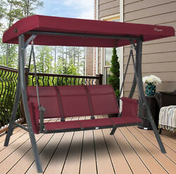 Swing With Canopy Adjustable Red Heavy Duty Steel 750 lbs Stand 3 Person Porch $368.59