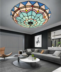 Tiffany Mediterranean Chandeliers Stained Glass Ceiling Lamps Lighting Fixtures $123.19