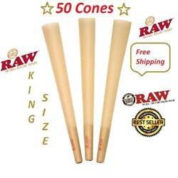 Authentic Raw King Size Cones W Filter tips pre rolled 50 CONES Free shipping $10.95