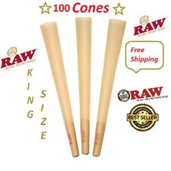 Authentic Raw King Size pre rolled Cones W Filter tips 100 CONES Free Shipping $14.50