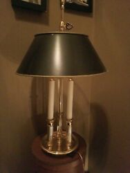 BALDWIN FORGED POLISHED BRASS 3 CANDLE LAMP W BLACK LAMP SHADE**GORGEOUS *24 quot; T $195.50