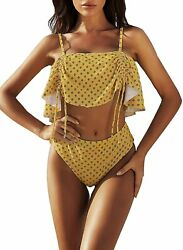 2 Pc Swimsuit Bathing Women Ruffle Tank Top Adjustable Tan Gold Large or Med $11.66