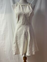 FREE PEOPLE DRESS LACE Off WHITE CUT OUT FIT amp;FLARE SLEEVELESS CROCHET SIZE 10 $18.00