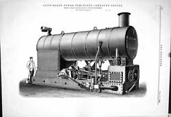 Old Fifty Horse Power Semi Fixed Compound Engine Ruston Proctor 1883 Victorian GBP 20.00