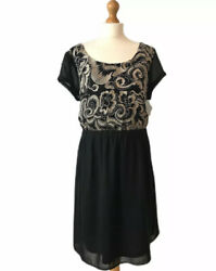 Simply Be Black Gold Embroidered Dress 22 Chiffon Floaty Plus Occasion Summer GBP 12.00