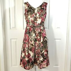 Talbots Dress 8 Floral Cocktail Brocade Sleeveless Belted Brown Pink $35.00