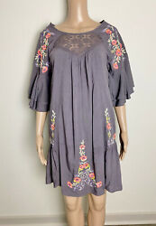Umgee Purple Floral Embroidered Babydoll Boho Bohemian Dress Size Small $19.00