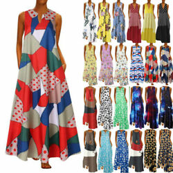 Plus Size Womens Summer Holiday Print Sleeveless Dress Casual Party Long Dress
