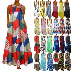 Plus Size Womens Summer Holiday Print Sleeveless Dress Casual Party Long Dress $16.52
