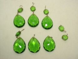 Lot of 6 Vtg Green Glass Chandelier Lamp Prisms *As Is* $19.00