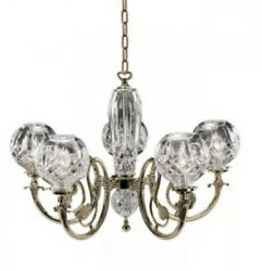 Waterford Lismore Five Arm Polished Brass Finished Chandelier $1900.00