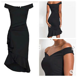 VENUS Ladies Black Dress Size XL 20 22 Stretchy Flouncy Party Plus NEW NWOT 🌹 GBP 17.99