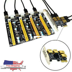 PCI E 1 to 4 Riser Card Adapter Board GPU For X4 X8 X16 Graphics Card Interface $24.85