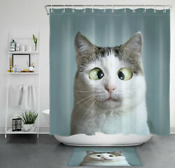 Funny Cat Cute Pets Animal Kitten Kitty Shower Curtain Bathroom Accessory Sets $18.55